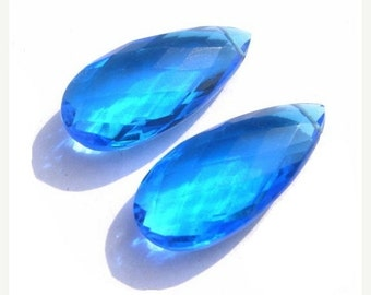 55% OFF SALE 1 Pair AAA Neon Blue Apatite Quartz Faceted Elongated Pear Briolettes Size 26x12mm approx
