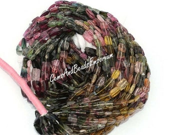 55% OFF SALE 12 Inchse 6x4 - 9x6 mm Genuine Multi Tourmaline faceted Rectangle briolettes Beads, Multi Tourmaline Briolettes, Tourmaline Bea