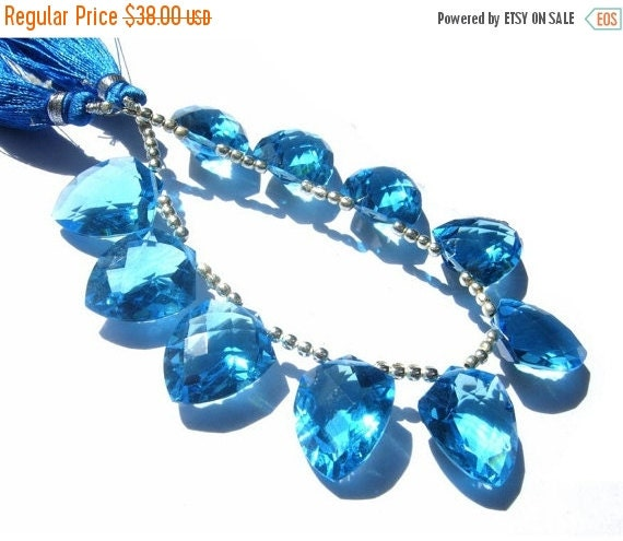 55% OFF SALE 1/2 Strand - High Quality AAA Swiiss Blue Quartz Faceted Fancy Briolettes Uniform Size 18x14mm 5 Pcs 2 Matched pair n a Focal P