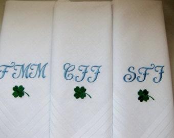 Three Monogrammed Men's Handkerchiefs