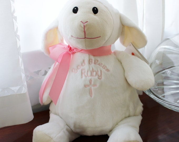 God Bless Personalized Plush Cubbie Lamb for Boy or Girl