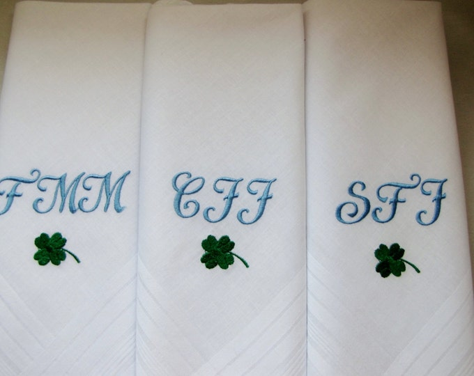 Three Monogrammed Men's Handkerchiefs