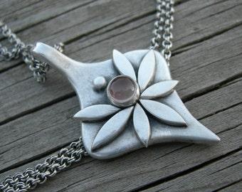 Rhiannon Goddess Pendant Oregon Sunstone PMC Artisan Jewelry Metal Clay Sterling Silver