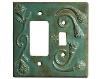 Ceramic Single Toggle + Single Rocker Combination Switch Plate in Antique Teal
