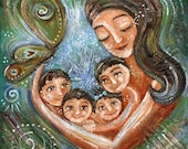 Wings Of The Heart - Archival signed motherhood print from an acrylic painting by Katie m. Berggren
