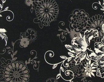 Floral Black Fabric with Flowers By Yard, Quarter Yard, Fat Quarter Michael Miller Zephyr Floral Fabric Cotton Quilting Fabric t1-40