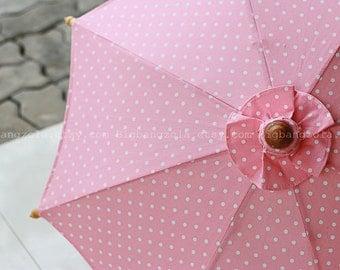 Small Pink Polka-dot parasol size M