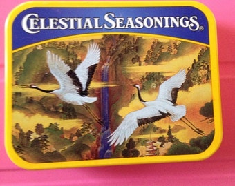 Celestial Seasonings tea tin - cranes