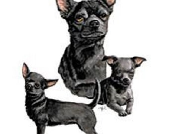 CHIHUAHUA (Black) SMOOTH Multi- Dogs on TWELVE Identical 6 inch Fabric Squares for Quilting and Sewing