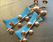 Mid Century Modern Copper Earrings with blue enamel-Unsigned