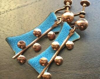 Mid Century Modern Copper Earrings with blue enamel-Unsigned