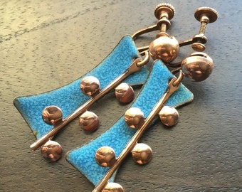 ON SALE Mid Century Modern Copper Earrings with blue enamel-Unsigned