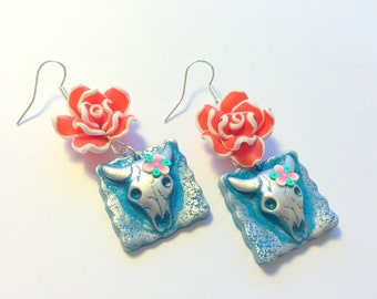 Turquoise and Red Rose Cow Skull Handmade Polymer Clay Earrings
