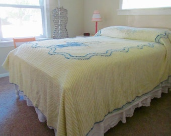 Vintage Chenille Bedspread Celery Green Floral 92 x 104 Full Queen - Shabby Cottage Boudoir