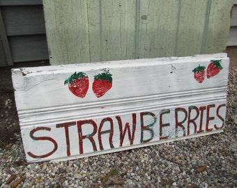 Vintage Primitive Sign Wood Clapboard Siding - Strawberries Raspberries Reversible - Shabby Farmhouse Kitchen
