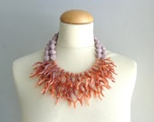Brown red coral branch necklace, coral branch statement