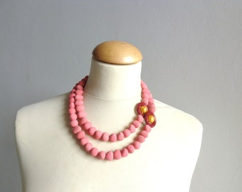 chunky coral pearl necklace statement