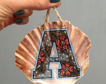 Initial Illustrated Sea Shell – Christmas Decoration, Wall Hanging