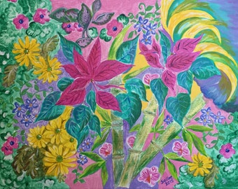 """Bamboo with Flowers - original acrylic painting 11"""" x 14"""""""