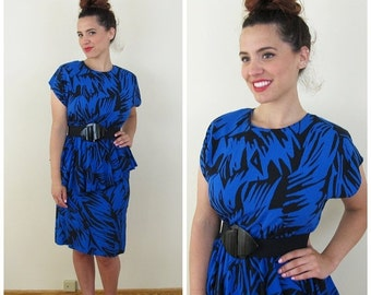 25% Off Sale 80s Black & Blue Graphic Print Peplum Dress, Size Small to Medium