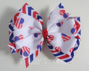 Patriotic Bow - Red White and Blue Double Pinwheel - No Slip Velvet Grip Hair Clip