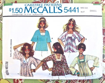 Vintage 1970s Womens Boho Blouse Pattern - McCall's 5441