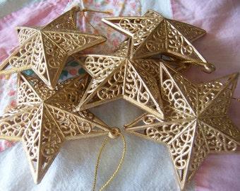 lovely gold plastic star ornaments