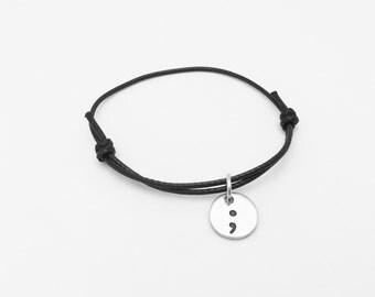 Semicolon Cord Bracelet, awareness, Semi Colon