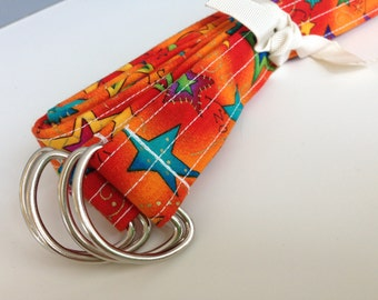 YOGA PILATES MAT Strap Sling, Bright Orange with Blue and Green Stars, Yoga Pilates Mat Carrier, Yoga Mat Tote, Fabric Yoga Mat Sling