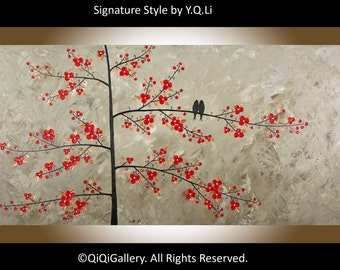 "Acrylic painting Original Wall Art wall decor Red Flower tree love Birds art ""Tomorrow Will Be Better"" by QIQIGALLERY"