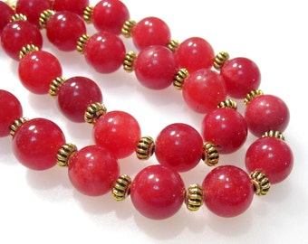 Natural Red Quartz & Antique Gold 20 inch adjustable to 23 inches Necklace / 3 inch extender chain NK1004 H16