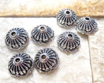 25 pcs Antique Silver Bead Caps, Open Top Caps with beaded detail BC1059 H16