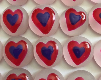 Hearts Hand painted glass gems  party favors  garnet HEARTS  HEART on frosted white gems