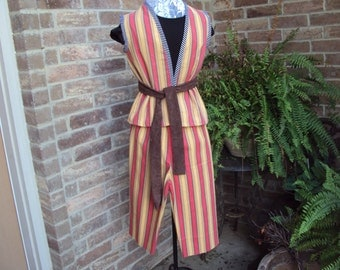 Childrens pirate costume, clown costume, orange and gold stripe pants and long vest