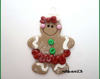 Polymer Clay Gingerbread Girl Charm Pendant