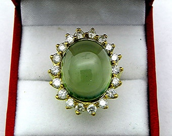 AAAA Prehnite   18x14mm  15.26 Carats   in 18K yellow gold Diamond halo ring with 1.75 carats of Diamonds  1334