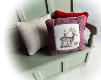 Miniature Cushions...1:12 Scale Cushions...3 Cushion Set from The Scottish Collection...1 Inch Scale Pillows...Dollhouse Decor
