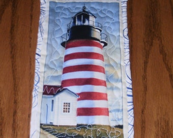 Red and White Lighthouse Mini Quilted Wall Hanging