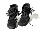 SIZE 8 Black Suede Moccasin Ankle Boots