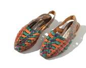 size 7 Color Block Handwoven Leather Sandal