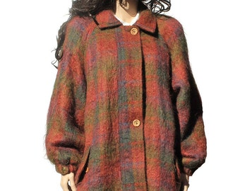 Vintage Wool and Mohair Plaid Jacket Coat