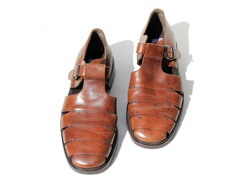 Size 11 Men's Brown Leather Cut Out Leather Sandals