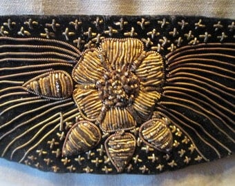Vintage Silver Metallic Embroidered Belt Black Velveteen Embroidered w/ Gold Metallic Thread - India Snap Closure for Tiny Waist - Headband