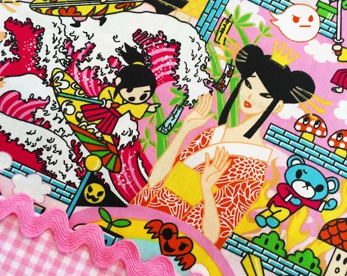 ANIME DRAGON Pink Cotton Quilt Fabric Yard Fq Comic Graphic Japanese Kawaii Geishas Asian Manga Tokyo Japan Harajuku Girls