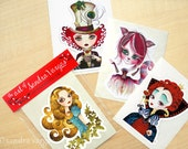 Alice in Wonderland Die Cut Vinyl Stickers Set of 4 - Alice, Mad Hatter, Queen of Hearts, Cheshire Kitty