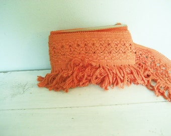 3.9Y Vintage Bright Orange Extra Wide Woven Cotton Fringe Trim