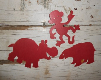 Vintage Red Paper Animal Cut Outs, Vintage Paper Monkey, Vintage Classroom, Vintage School Supplies