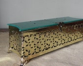 Vintage aqua and gold pierced robins egg blue dresser box gold metal hollywood regency french country home