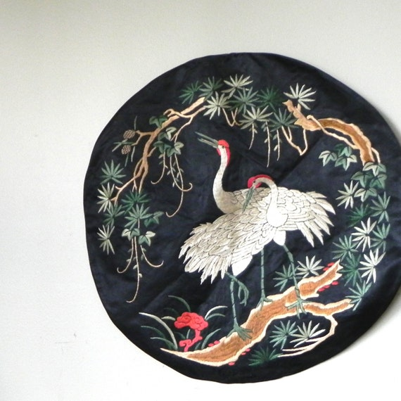vintage chinese silk embroidered roundel with