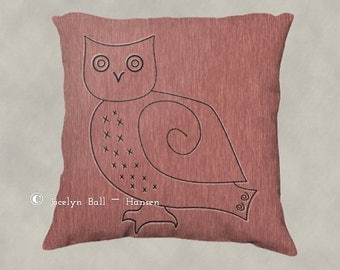 Primitive Snowy Owl Line Drawing on Textured Light Red Background, Nature Theme Decorative Throw Pillow Cover, Salmon Color Home Decor,